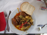 homemade lamb meatballs & green peppers